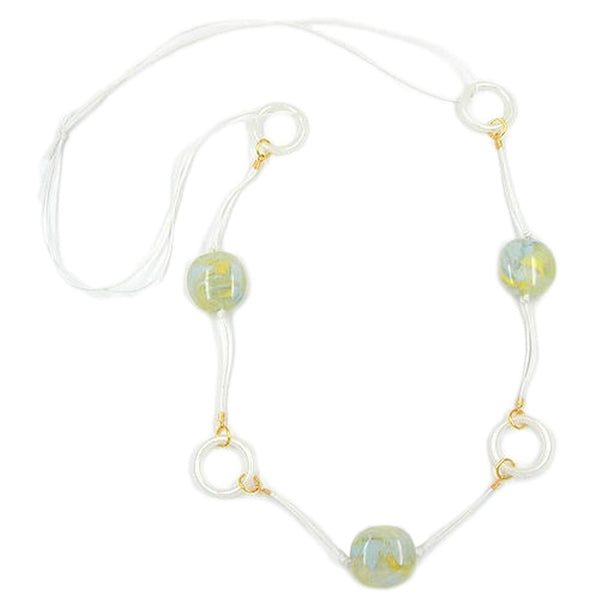 necklace beads rings yellow/ blue/ green/ white
