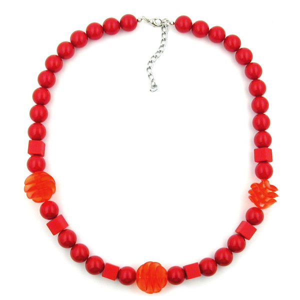 necklace red cubic round and spiral beads