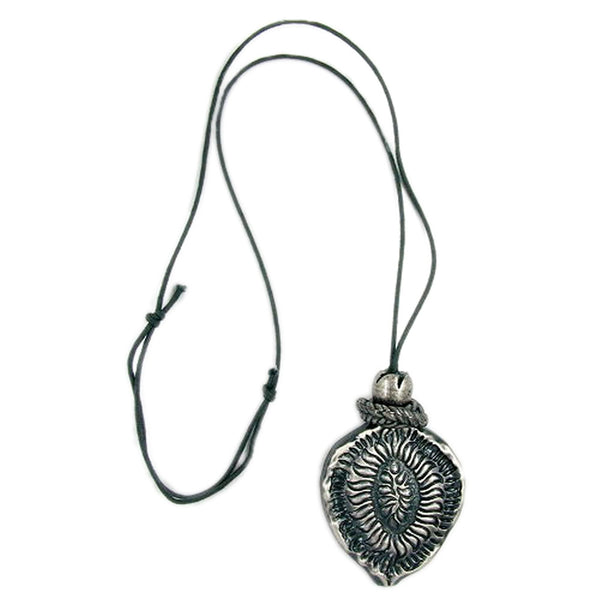 necklace oxide silver pendant grey cord