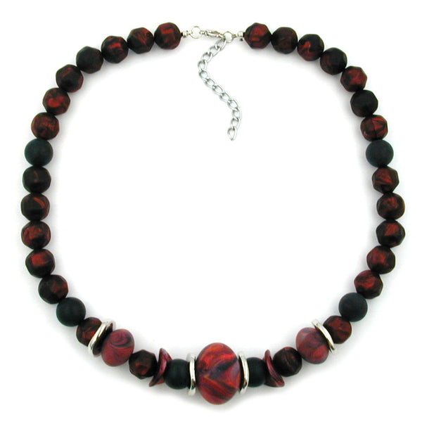 necklace dark red/ black metallic marbled