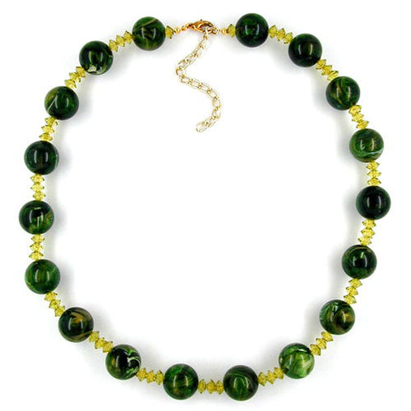 necklace beads green marbled 50cm