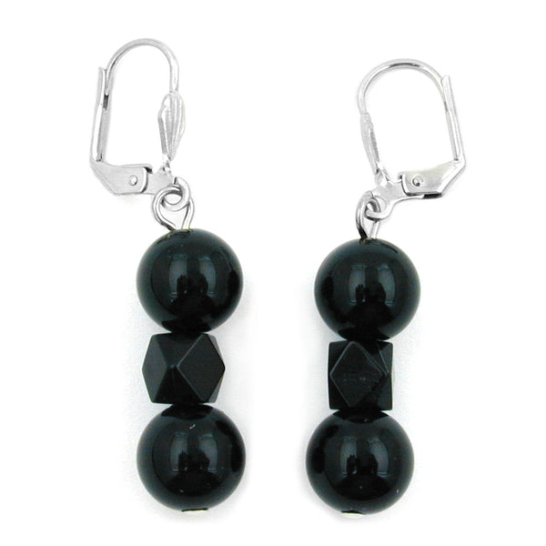 leverback earrings black beads