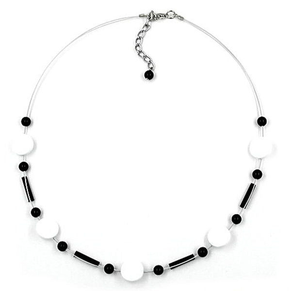 necklace beads white-black