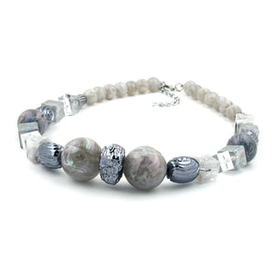 necklace silvergrey grey-blue marbled beads