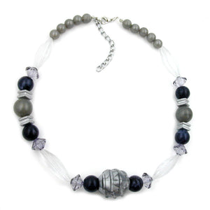 necklace silver-grey/ black/ transparent beads