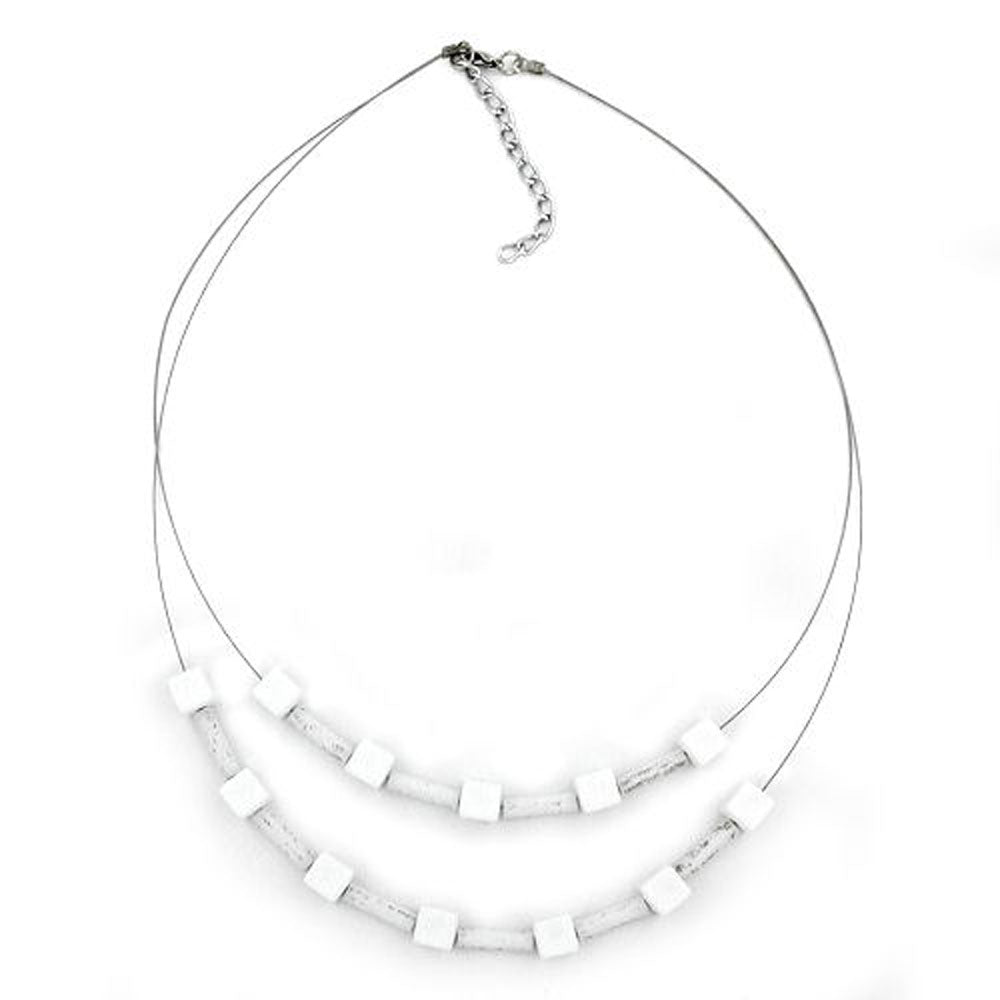 necklace white beads matt