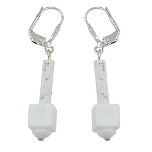 leverback earrings white matte with pattern