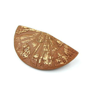 brooch hand fan brown gold coloured