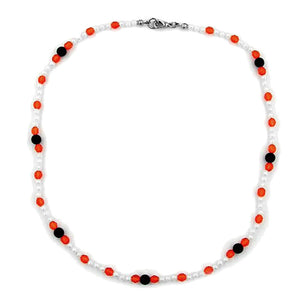 necklace beads red/white/black