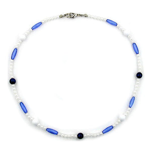 necklace beads blue/white