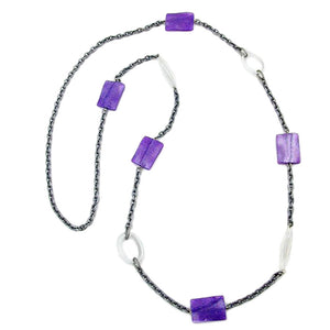 necklace pillow lavender-silver crystal 100cm