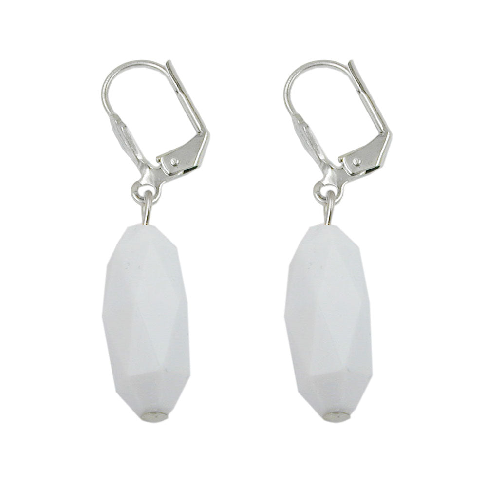 leverback earrings olive shaped white