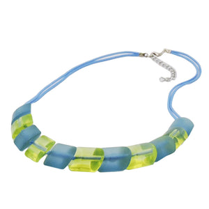 necklace 2x light blue knotted cord & turquoise-green slanted beads