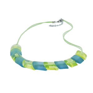 necklace slanted bead turquoiuse green