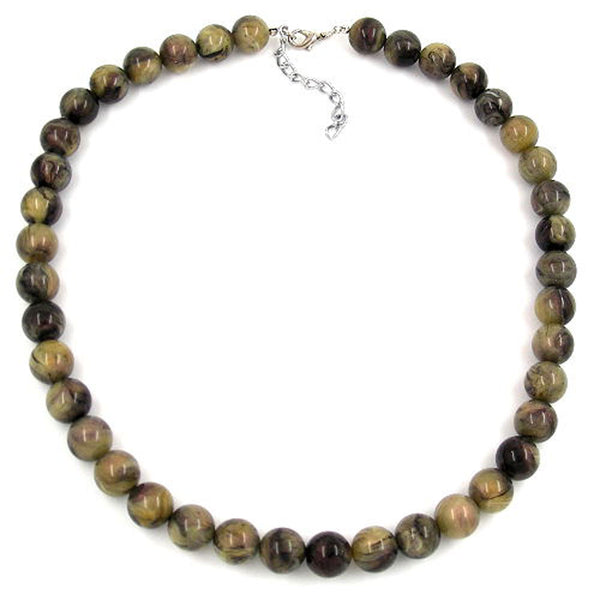 necklace beads 12mm green-black 50cm