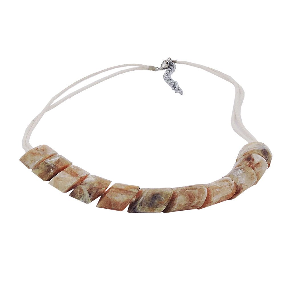 necklace slanted beads beige marbled