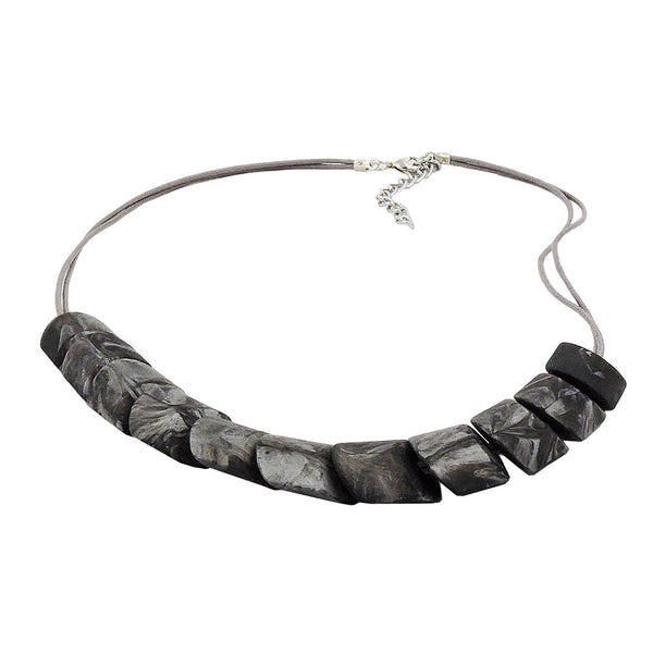 necklace slanted bead grey marbled