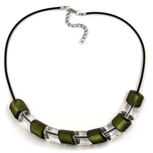 necklace beads green 45cm