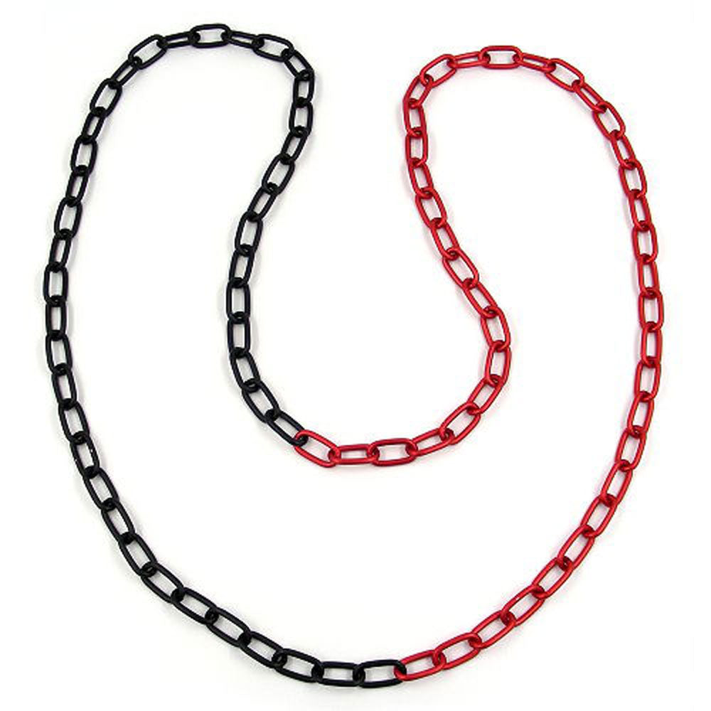 necklace anchor chain 8mm red/ black