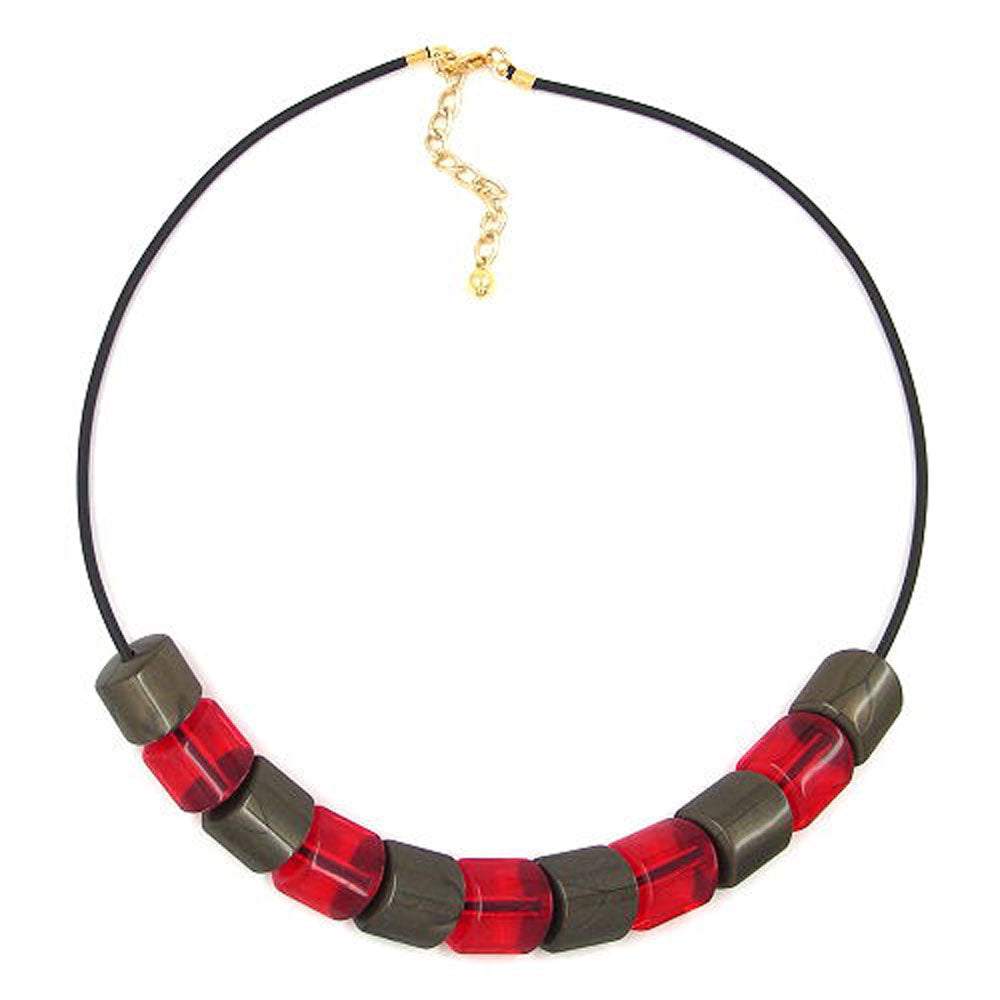 necklace beads red-gold 45cm