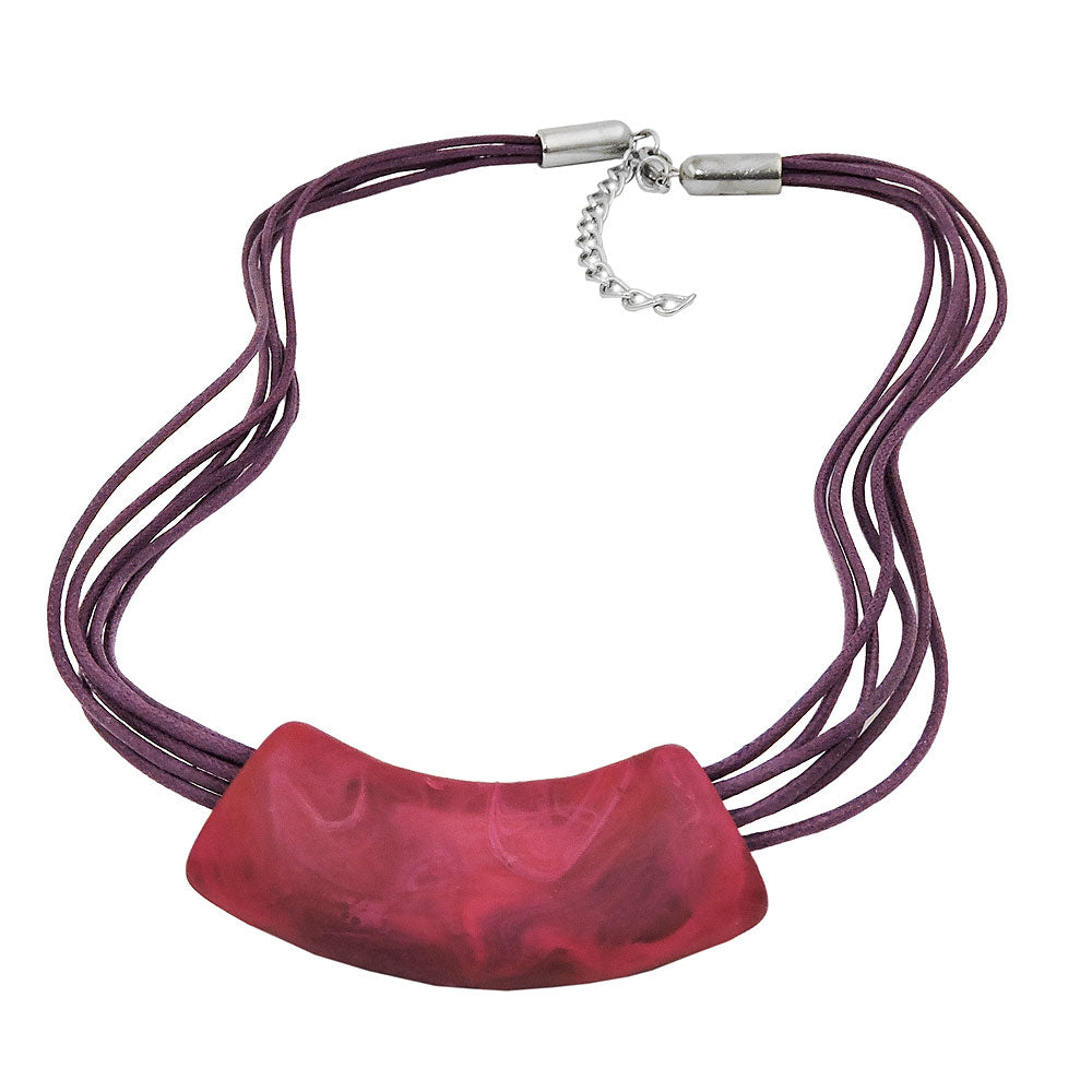 necklace tube flat curved pink 50cm