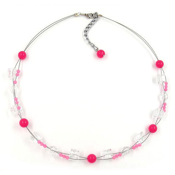 necklace pink beads transparent cube beads