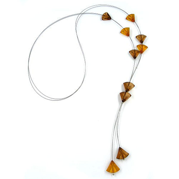 necklace triangle beads brown transparent