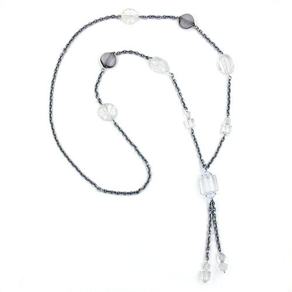 necklace beads & cubes transparent 95cm
