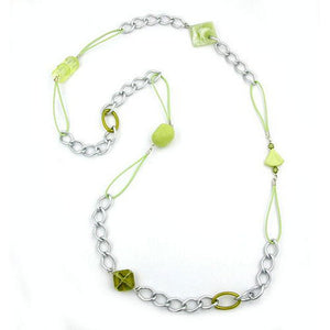 necklace curb chain with beads 100cm