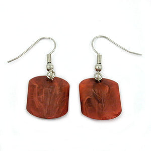 hook earrings slanted bead brown