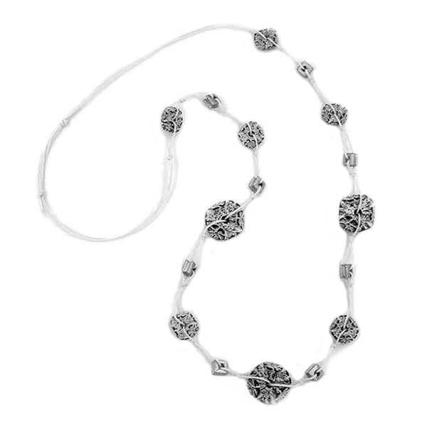 necklace flower bead grey-white 100cm