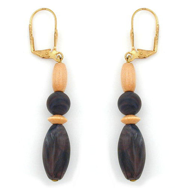 leverback earrings dark brown grey