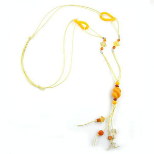 necklace yellow beads 100cm