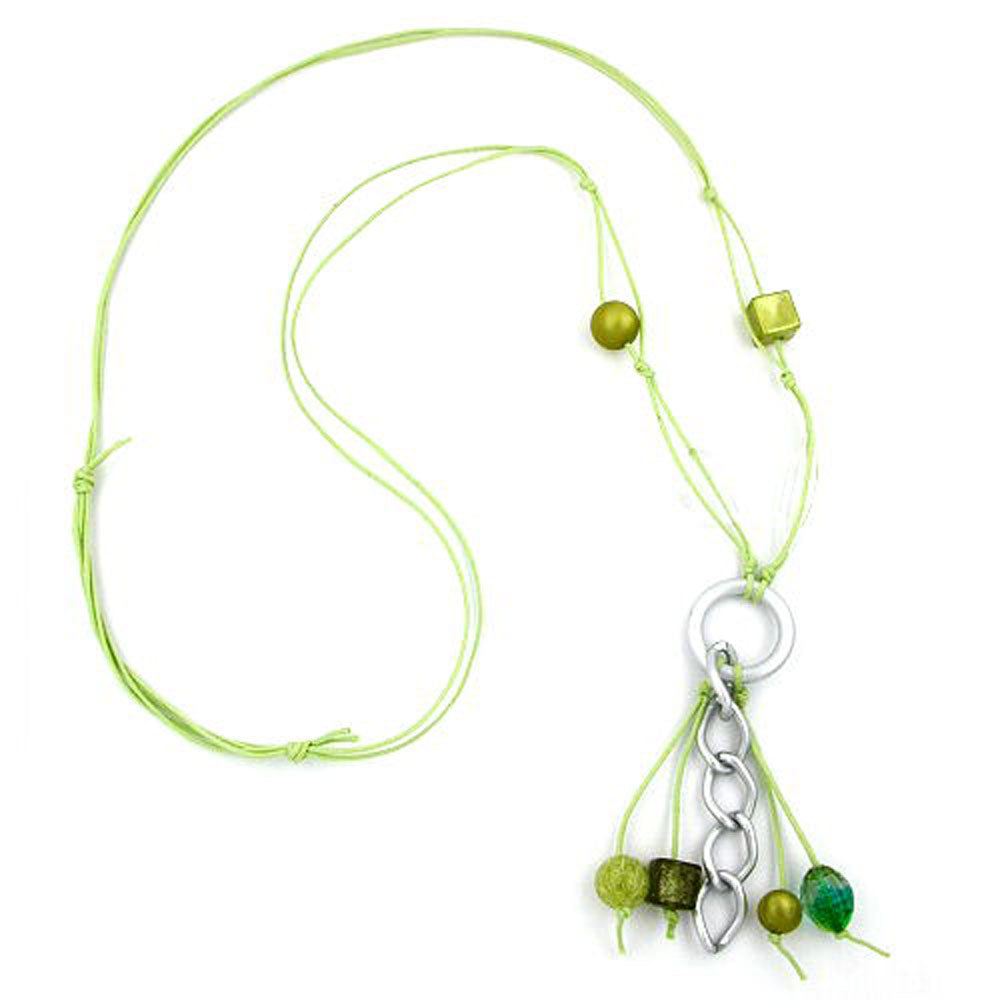 necklace lightgreen beads 90cm