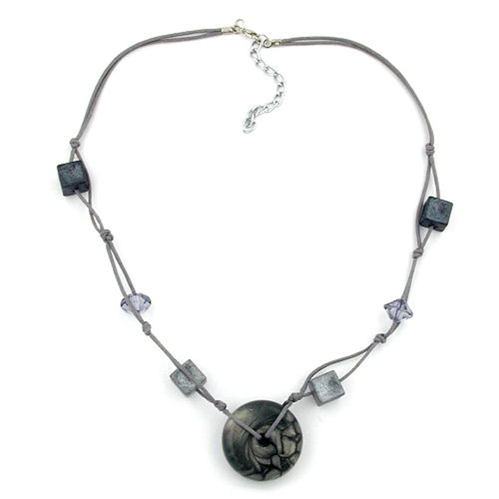 necklace disc grey/silky & glossy beads