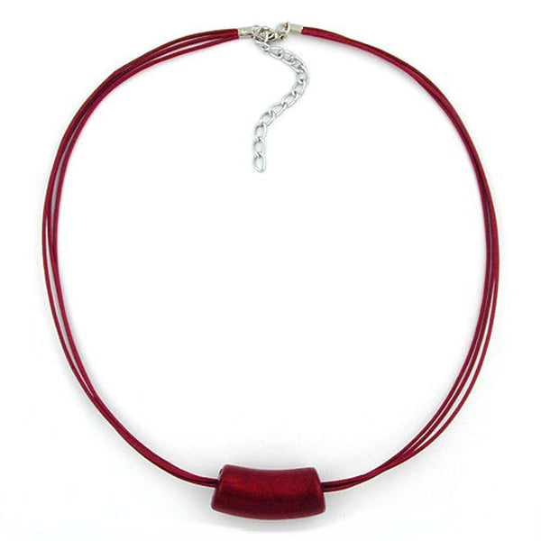necklace tube bead red/ metal