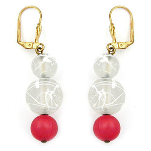 leverback earrings silky red transparent