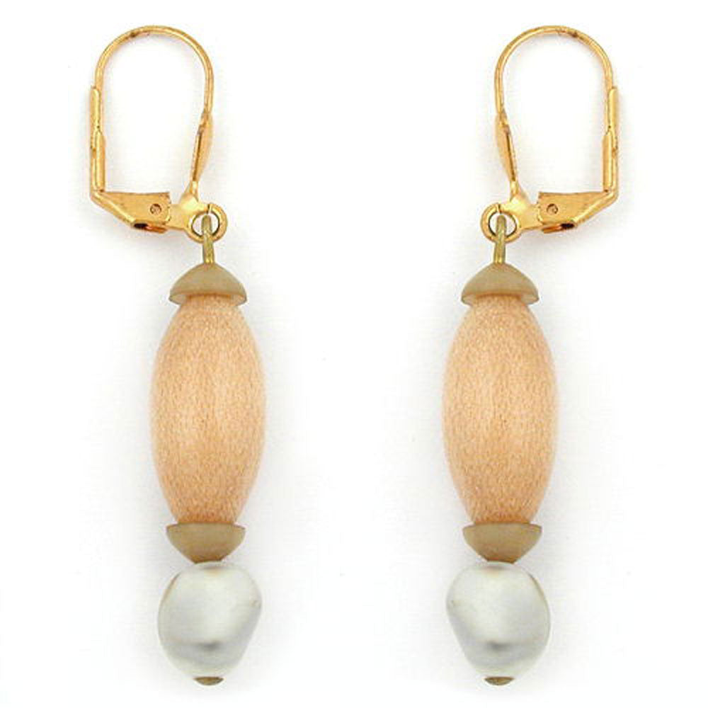 leverback earrings wooden beads and square