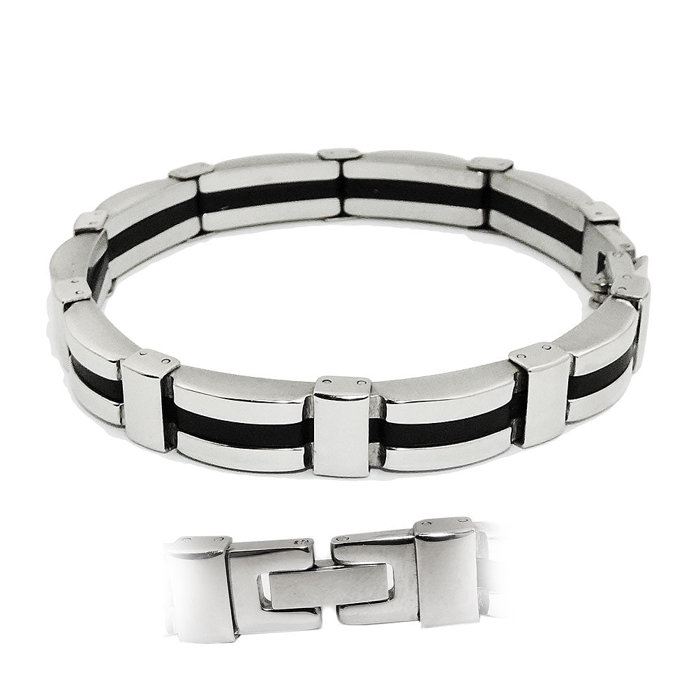 bracelet black ribbon stainless steel