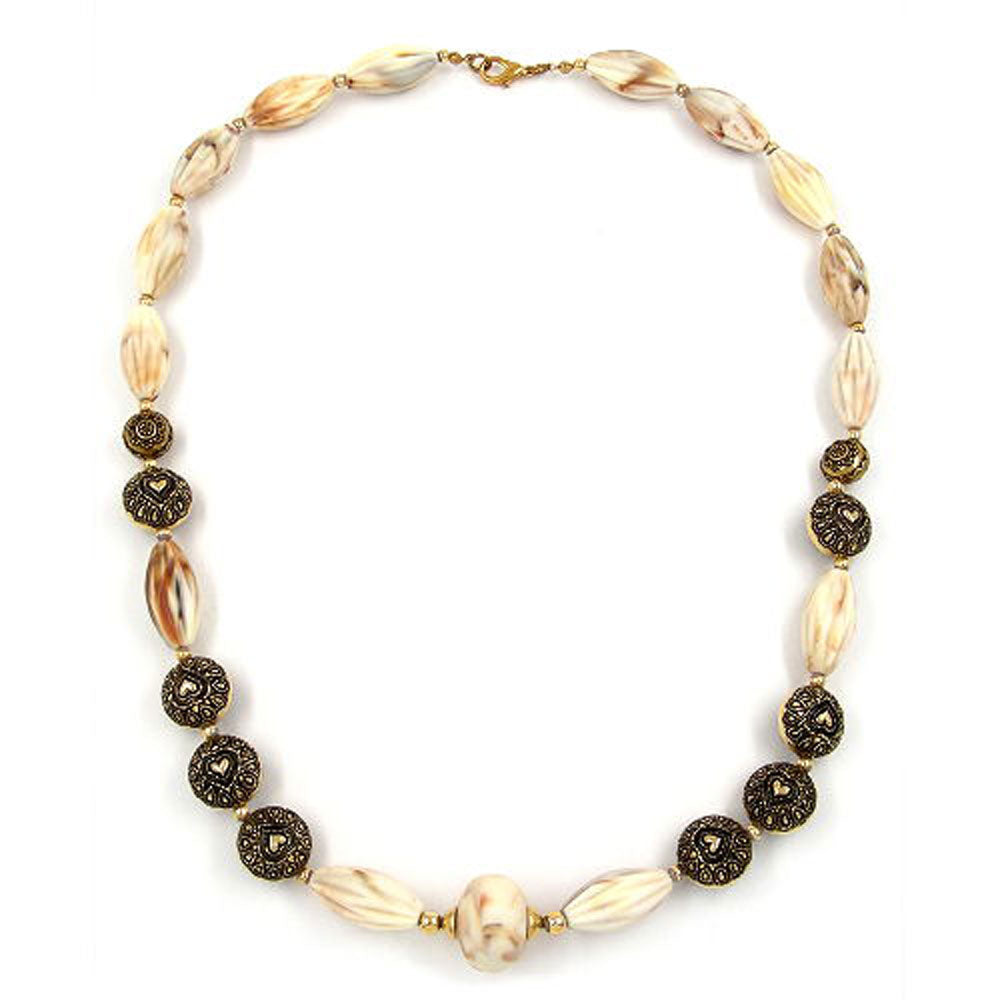 necklace beads beige-brown 55cm