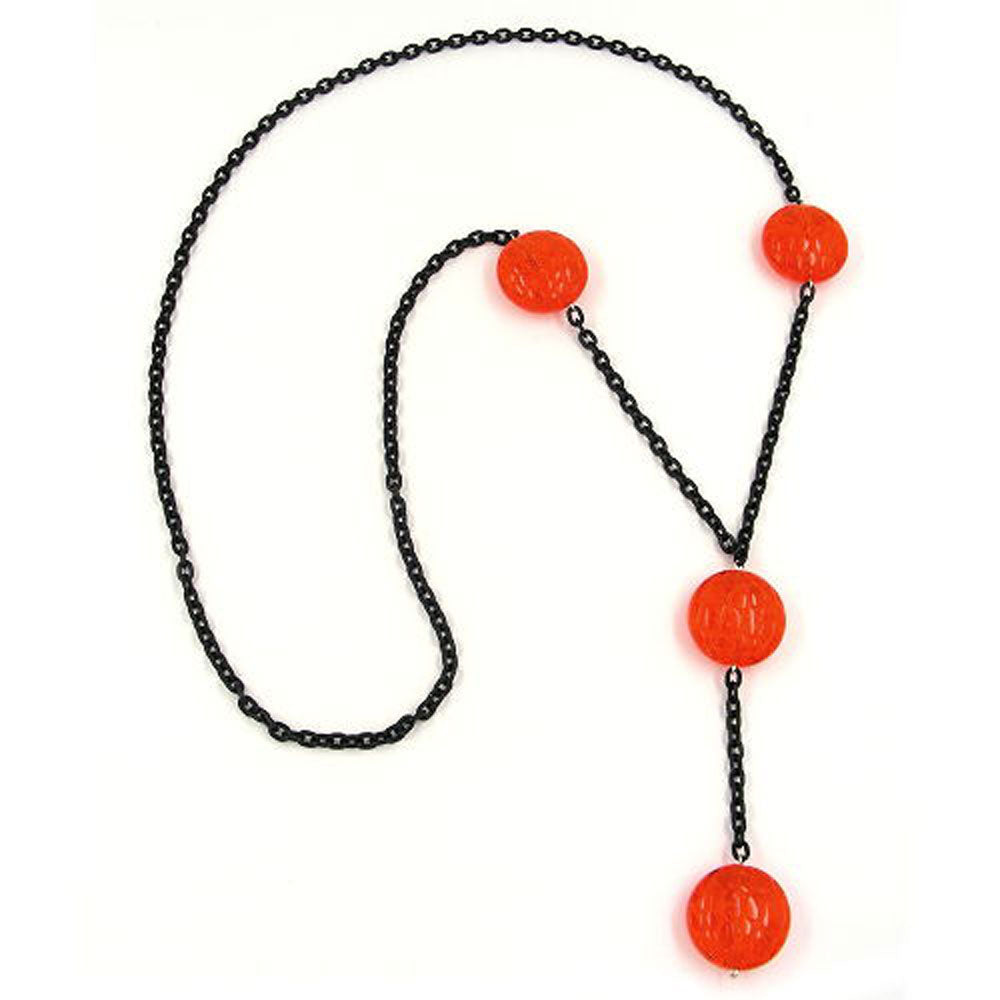 necklace eye-catching beads red 90cm
