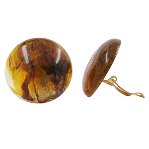clip-on earring round brown marbled glossy 30mm