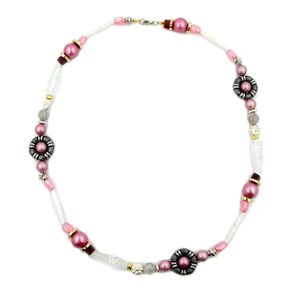 necklace beads pink-white-silver tone 60cm