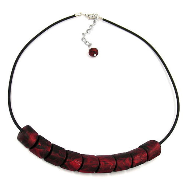 necklace beads red rubber-chain 45cm