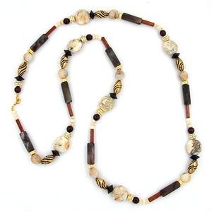 necklace beads beige-brown 110cm