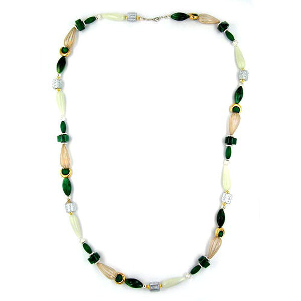 necklace beads mint-green & silver 90cm