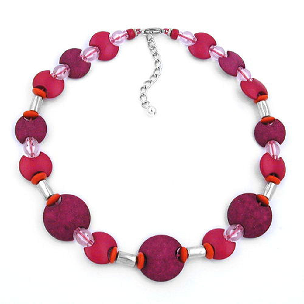 necklace pink-red matte-shiny 42cm