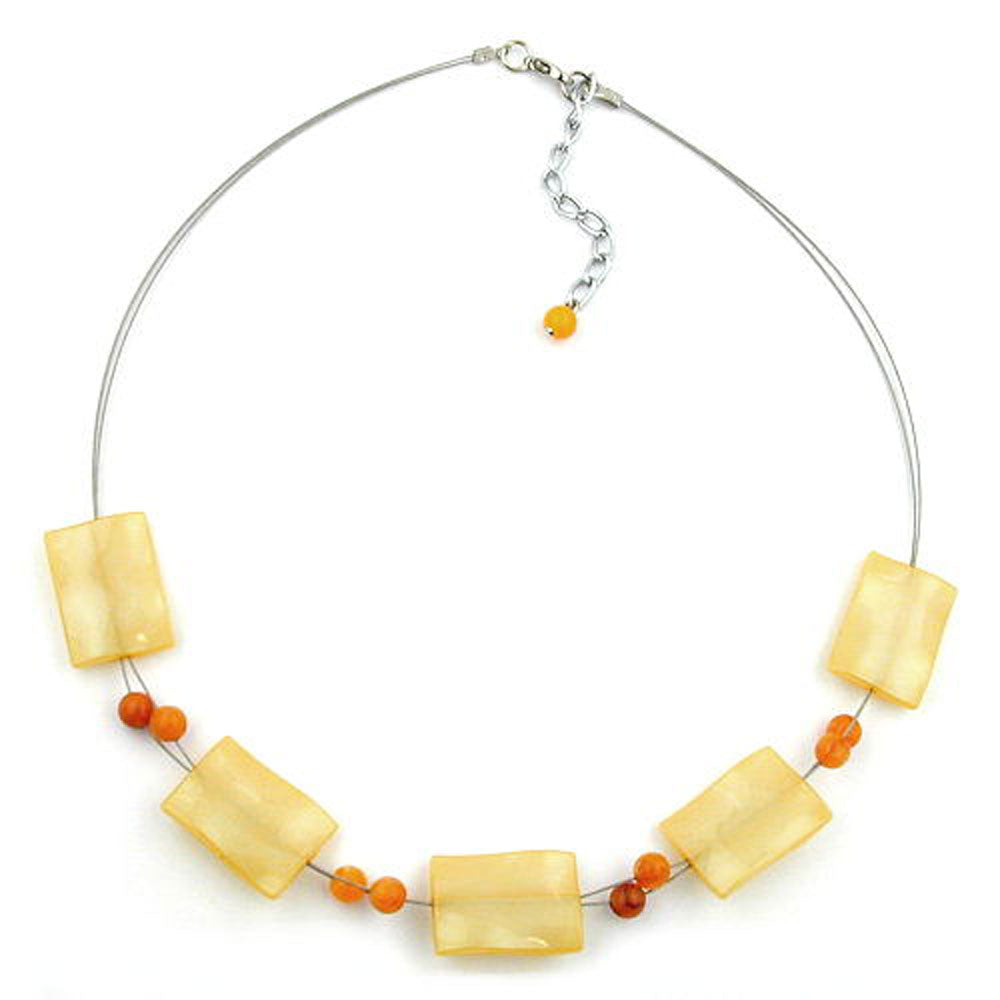 necklace rectangle beads yellow silky 45cm