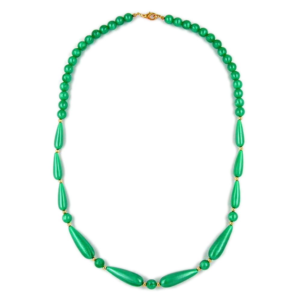 necklace silky shimmering beads green