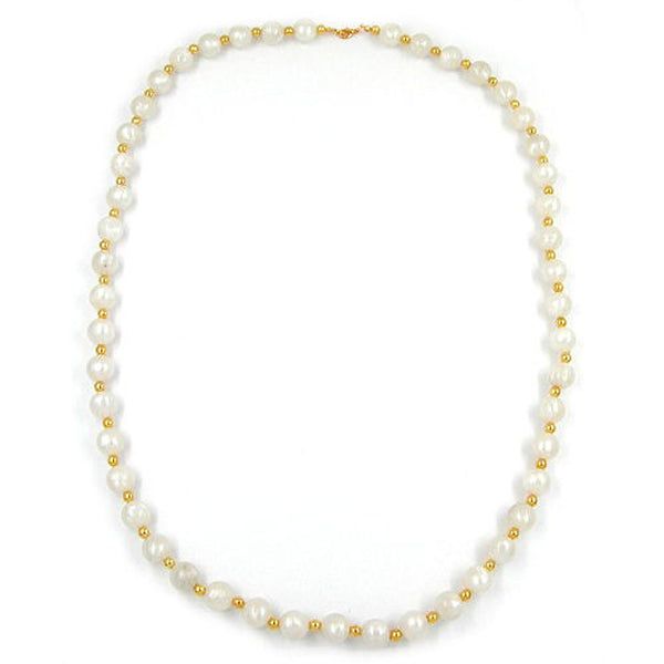 necklace beads silk-white & gold 80cm